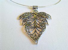 Large filigree leaf necklace